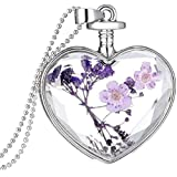 Collar para mujer, FEITONG DIY Corazón Vaso Lavanda Flotante Memoria Vivo Colgante Collar (púrpura)