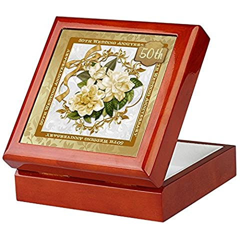 CafePress - Floral Gold 50Th Wedding Anniversary - Keepsake Box, Finished Hardwood Jewelry Box, Velvet Lined Memento
