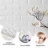 KINLO 3D Wandpaneele Weiß schneidbar DIY selbstklebend Ziegelstein Wandpaneele Tapete 77 x 70 CM Wasserdichte Wandaufkleber aus PE Schaum Panel PVC für Schlafzimmer /Wohnzimmer/ Dach/Treppe/kinderzimmer