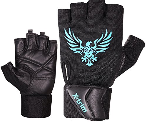 XTRIM - X MACHO - LEATHER GYM WORKOUT GLOVES - BLACK ( M / L / XL ) WRIST WRAP GLOVES - For Men -Washable Real Leather, Durable, Double Stitched, 4-way Stretch Mesh, Half Finger Length, No Sweat, Extra Foam Padded, Luxurious Wrist Wrap.