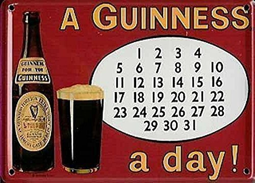 GUINNESS IRISH CALENDAR Small Metal Tin Pub Sign by Guinness -