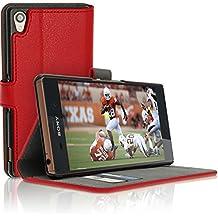 igadgitz Premium Rojo PU Cuero Funda Cartera Tapa Carcasa para Sony Xperia Z3 D6603 Piel Flip Case Cover con Ranura Para Tarjetas + Soporte + Cierre Magnético + Protector Pantalla