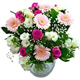 Clare Florist Baby Girl Flowers Bouquet - Fresh White Roses, Pink Gerbera and White Freesia to Welcome a New Baby Girl