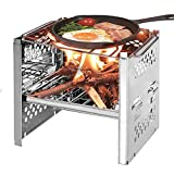 LXB Estufa de Campamento, Cocina de Barbacoa para pícnic, Estufa Plegable de Acero Inoxidable Plegable para Barbacoa de Camping. Bolsa de Regalo.