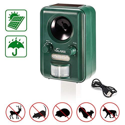 Volador Ahuyentador Gatos, Solar/USB Alimentado Repelente Perros Ultrasónico, Impelente Repelente Gatos Jardin, Sensor de Movimiento y luz Intermitente Ahuyentador de Pajaros, Anti Gatos Ardillas.