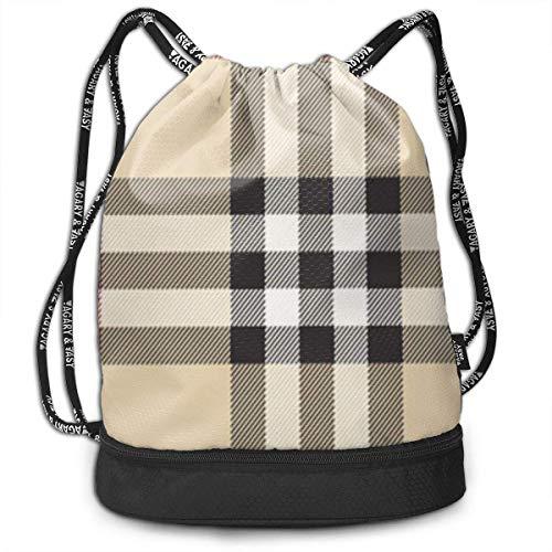 Rucksäcke,Sporttaschen,Turnbeutel,Daypacks, Drawstring Backpack Bundle Gym Bike Duffel Bag Knapsack Fashion Waterproof Sport Bag for Men Woman School Travel Gray Plaid Lines Print Pack -