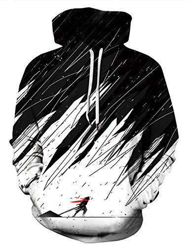 AIDEAONE Jungen Ninja Druck Hoody Kapuzenpullover Schwarz Hooded Sweat Sweatshirt Hoody ()