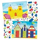 Baker Ross Kits de dibujos playeros para decorar con mosaicos que los niños pueden crear y exhibir - Juegos de manualidades infantiles creativas para el verano (pack de 4)