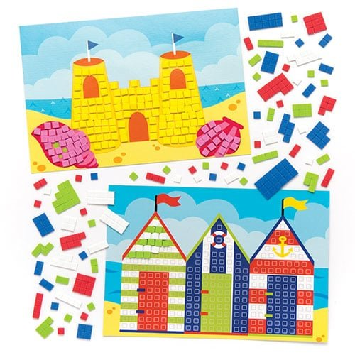 Baker Ross Seaside Mosaic Picture Kits (Pack Of 4) For Kids To Make & Display