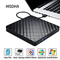 ‏‪External CD DVD Drive, Portable USB 3.0 CD Burner Reader Writer Drive DVD Player for Laptop Desktop Macbook Mac OS Windows,Black‬‏
