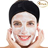 """Whaline 4 Counts Black Spa Facial Headband Head Wrap Terry Cloth Headband Stretch Towel with Magic Tape for Bath, Makeup and Sport, 3.5"""" Wide"""