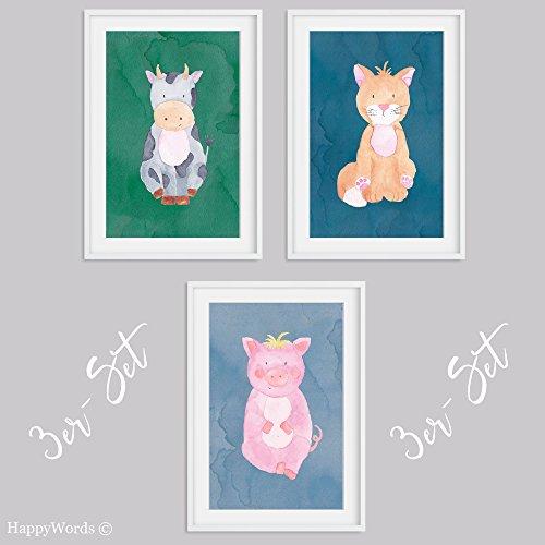 HappyWords 3er Set Bilder DIN A4 ohne Bilderrahmen | Dekoration Babyzimmer Kinderzimmer | Junge Mädchen Baby Kind | Kinder-Poster Kinderbilder Druck Kunstdruck | Bauernhof Tiere Katze Schwein Kuh