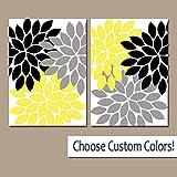 canvas print Wandschmuck Blume Grau, Gelb Schwarz Schlafzimmer auf Leinwand Oder Prints Gelb Schwarz Badezimmer Decor Gelb Schwarz Blumen Art Set von 2Artwork