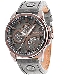 Police Men's Quartz Watch with Grey Dial Analogue Display and Grey Leather Strap 14799JSBZ/61