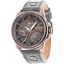 Police 14799JSBZ/61 - Reloj de pulsera analógico para hombre (mecanismo de cuarzo, esfera gris y correa de piel gris)