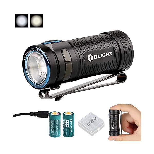 Olight S1 Mini Baton EDC Torch Max Output 450-600 Lumens Cree XM-L2 CW/Cree XP-G3 CW LED Small Torches Waterproof Portable Flashlight, with RCR123A 650mAh Rechargeable Battery and Battery Case 2