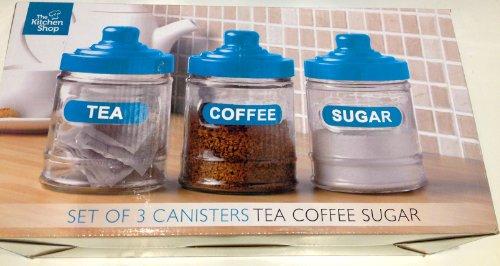 Thé Café et sucre – en verre de boîtes de rangement – Bleu pâle – Design Moderne Simple