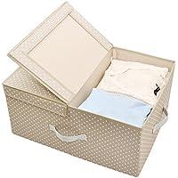 compartimiento de almacenaje plegable de la ropa, tamaño enorme, cubierta desprendible, bolso del almacenaje del armario (21,7 x 16,5 x 10,2 pulgadas), amarillento