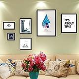 ZHAS Massivholz Big Picture Frame Wohnzimmer Schlafzimmer Sofa Hintergrund Wand Dekoration Foto Wand Kombination aus Farbe kreative Pappe Design feine Künstliche Schleifen an der Wand Schönheit Super Qualität (Farbe: A)