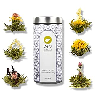 tea-exclusive-Teeblumen-Mix-Flower-Fantasy-6-verschTeeblumen-in-Metalldosemit-Foto-Booklet-und-Spruechen-gruener-u-weisser-Tee-mit-Jasmin-Rose-Pfingstrose-Ringelblume-Osmanthus-Hibiskus