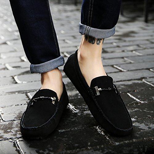 Eagsouni® Mocassins Hommes daim Penny Loafers Casual Bateau Chaussures de Ville Flats #1Noir