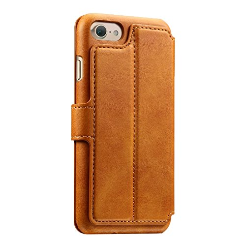 Für iPhone 7 Solid Color Rindsleder Textur Horizontale Flip Leder Tasche mit Halter & Crad Slots & Wallet by diebelleu ( Color : Coffee ) Brown