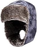 Wantdo Homme Chapeau de Trappeur Coupe-vent Hiver Neige Cavalerie Noir Gris One size