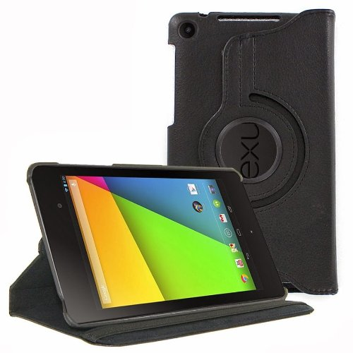 Black Asus Google Nexus 7 2nd Generation 2013 360 Degree Rotating Smart Leather Book Case Flip Cover Pouch