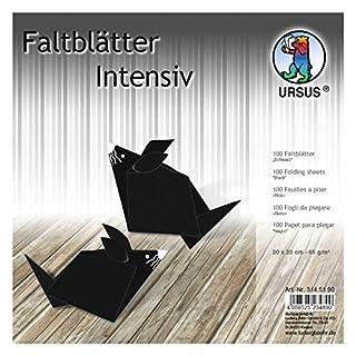 Ursus 3145190 Faltblätter Uni, 100 Blatt 65 g/qm 20 x 20 cm, für kleine und große Origami Künstler, durchgefärbt in Intensivfarben, schwarz