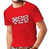 T-Shirt pour Hommes Eat - Sleep - Ride, Cadeau pour Les motocyclistes (Large Rouge Blanc)