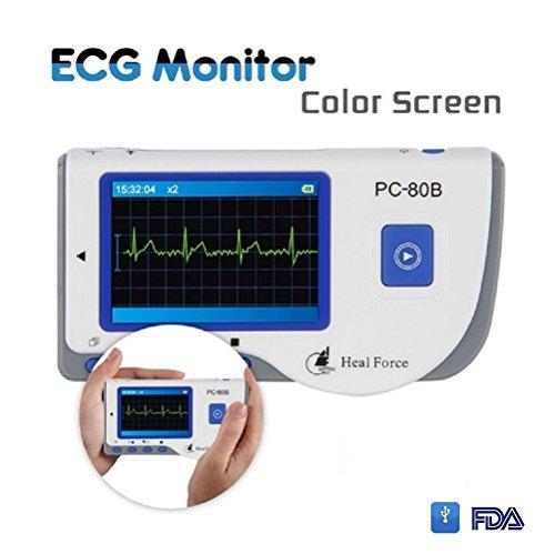 ekg tragbar Cenblue PC-80B EKG-Monitor, Handgerät, tragbar, LCD-Elektrokardiogramm, Herzmonitor
