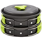 Nigecue Campeggio Cookware Outdoor Camping Kitchen Portable Combinazione Stoviglie Set Picnic Travel Attrezzatura da cucina Pentola e Pan Set 1-2 Person
