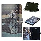 JIan Ying Schutzhülle für Samsung Galaxy Tab E 9.6 SM-T560/T561, Leder, leicht, Standfunktion, Smart 3D Cover Tablet Schutz Tiger cat