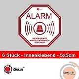 6 Aufkleber 'Alarm', iSecur, alarmgesichert, 5x5cm, Art. hin_221, Hinweis auf Alarmanlage, innenklebend für Fensterscheiben, Haus, Auto, LKW, Baumaschinen