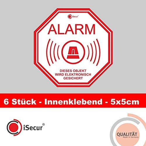 """Preisvergleich Produktbild 6 Aufkleber """"Alarm"""",  iSecur,  alarmgesichert,  5x5cm,  Art. hin_221,  Hinweis auf Alarmanlage,  innenklebend für Fensterscheiben,  Haus,  Auto,  LKW,  Baumaschinen"""