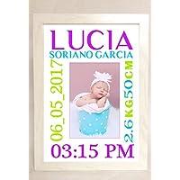 Portafotos de bebé. Personalizado con foto y datos de nacimiento.Hecho a mano en España