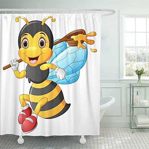 Luancrop Duschvorhang Wasserdicht Gelb Entzückende Cartoon Biene Hält Kugel Honig Tier Baby Charakter Fliegen Spaß Wohnkultur Polyester Stoff Einstellbarer Haken (Honig-kugeln)