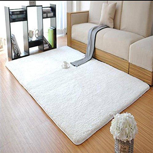 LYD® Teppich Home Maschine Waschbar Langes Haar Wohnzimmer Bett Bett Vorne Badezimmer Küche Treppe Rechteck Solid Color Anti-Rutsch-Teppich 80 X 120 Cm White