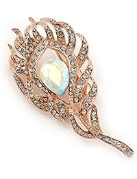 Para cama transparente/de cristal de broche con forma de plumas/de oro rosa y cristales con Clip de pelo Metal - 80 mm L