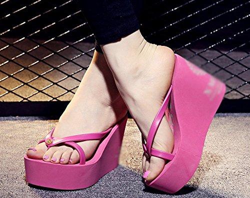 AWXJX Infradito Piscina Donna Stile semplice estate flip flop fondo spesso tacco alto pendio con impermeabile Rose Red