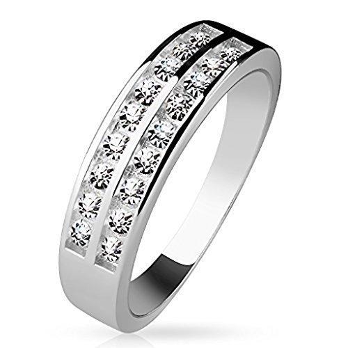 Tapsi´s Coolbodyart®| Damen Ring 925 Silber Zirkonia Zwei Reihen Besetzt Größe 47(15)