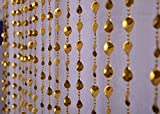Pindia 9Ft Strings Bead Curtain Golden Leaf Fancy Sparkling Door Window String Beads Thread Sheer Shear Rod Room Hanging - GOLDEN - 9 X 3.5 FT