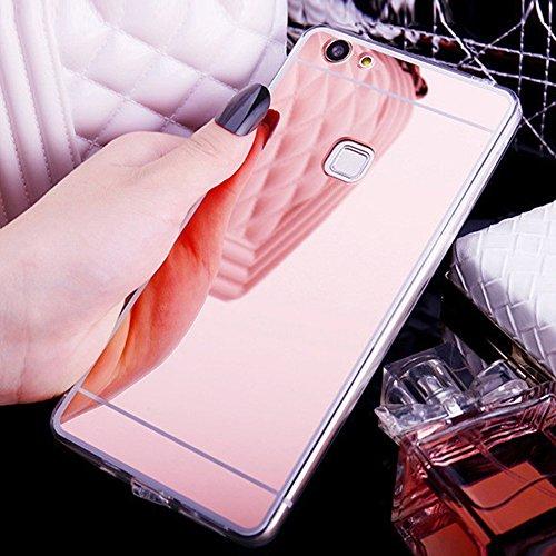 Hülle Kompatibel mit Huawei P10 Lite Spiegel Hülle Mirror Silikon Spiegel Glitzer Cool Bling Kristall Strass Diamant Hülle TPU Silikon Soft Flex Hybrid Case Cover Etui Hülle Huawei P10 Lite,Rose