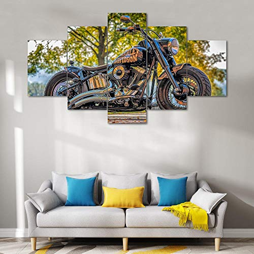 DRNXP 5 Panels Leinwand Kunst Chopper Motorradfahrer Ready To Hang Wandkunst Haus Wohnzimmer Dekoration Malerei Kunst @ 20X35_20X45_20X55cm_With_Frame