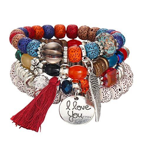 Armbänder Elastisch Herren Damen Buddha Mala Halskette Holz Armbänder Perlen Unisex Hot Schmuck mehrschichtige Bunte Perlen Münze Quaste Armbänder Metall Armband ()