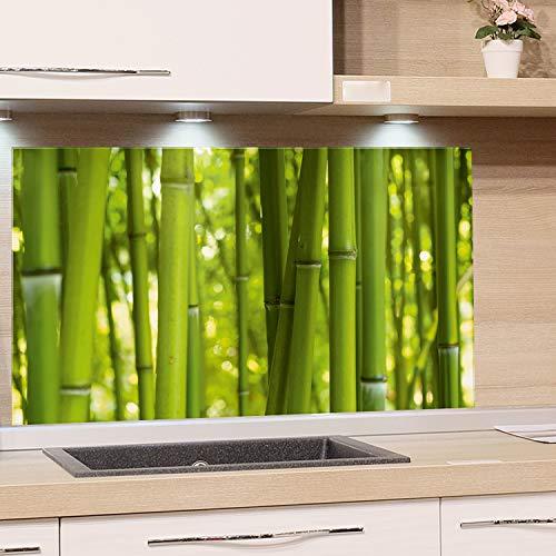 GRAZDesign Küchen-Spritzschutz Glas   Bild-Motiv Bambus grün Glasbild als Küchenrückwand - Küchenspiegel Wandschutz Küche Herd / 80x40cm