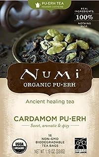 Numi Organic Cardamom Puerh Tea - 16 bags per pack -- 6 packs per case.