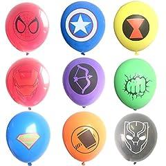 Idea Regalo - Hizoop Palloncini in Lattice Supereroi 45 Pezzi, Forniture per Feste di Compleanno per Bambini, Decorazioni per Palloncini Supereroi Avengers (9 Palloncini Colorati)