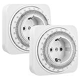 DEWENWILS Mechanische Zeitschaltuhr Steckdose für Innenräume, 24 Stunden Programmierbare Energiesparende Licht Zeitschaltuhr, 16A/3840W, CE-zertifiziert (2er Pack)