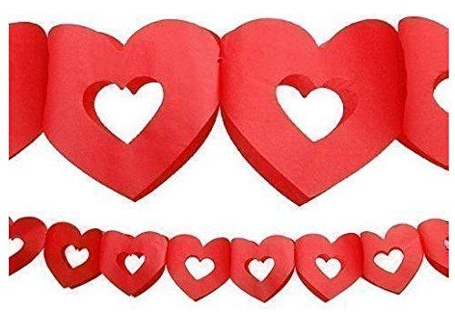 Valentins-Girlande offene Herzen rot, Papier, 13 cm, 3 m - 3 Rote Herzen